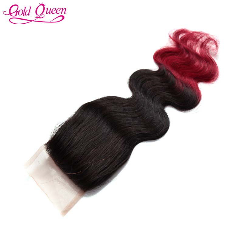 New Fashion Brazilian lace closure virgin human hair ombre closure two tone hair 4x4closures free shipping for African Americans<br><br>Aliexpress