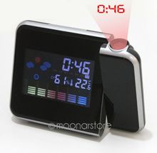 Brand New Digital LCD Screen LED Projector Alarm Clock Weather Station Forecast Calendar clock(China)