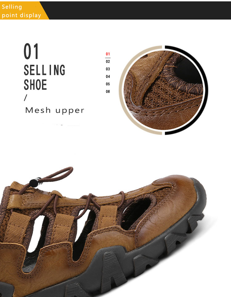 BACKCAMEL 2018 Summer New Sandals for Men Fashion Baotou Beach Slipper Sandals First Layer Leather Wear Casual Men's Shoes Hot 10 Online shopping Bangladesh