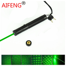 AIFENG Green laser pen stage lamp light Adjustable focus match 100 mw, tactical laser flashlight 4000 m long shots + star head(China)
