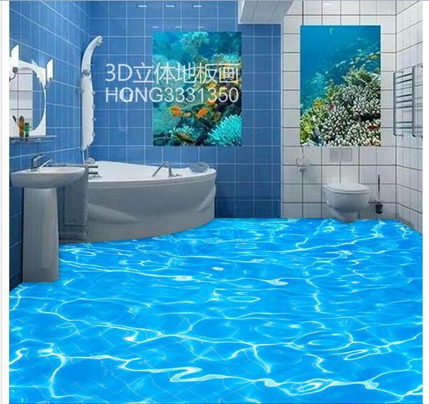 customized 3d photo wallpaper Stereoscopic 3 d sea water ripple 3D floor 3d mural PVC wallpaper self-adhesion floor wallpaer<br>