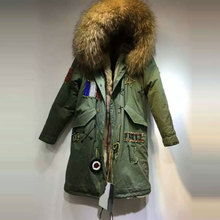 Fashion Flag of France Beading long style Natural color faux fur inside winter coat raccoon fur hooded