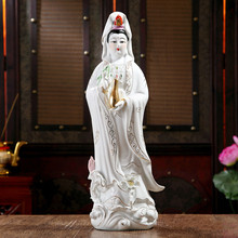 White porcelain, Guanyin Avalokiteshvara, Buddha sculpture, ceramic ornament, statue, Kwan-yin Bodhisattva height 30cm(China)