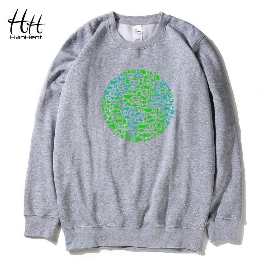HanHent Fashion Animals Earth Printed Sweatshirts Winter Fleece Men Thick Pullover Clothing Casual Black Hoodies Boys AD0689