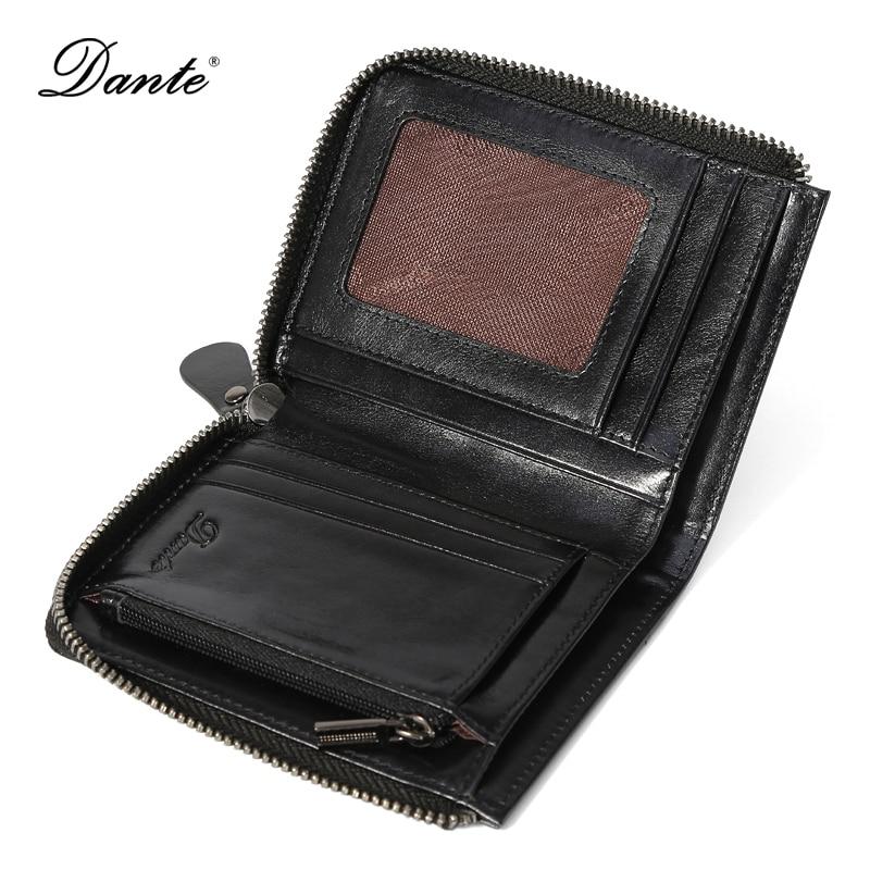 DANTE Oil Wax Vintage Small Mens Wallet Leather Genuine Fashion Card Holder Clutch Coin Purse Men Wallets QB4001<br>