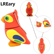 cute Parrot pen drive cartoon bird usb flash drive 32gb 16gb 8gb 4gb flash memory stick animal pendrive USB2.0 real capacity(China)