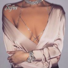 Jufee Multi Layer Body Chain For Sexy Women  Boho Chic Body Jewelry Long Silver Color Chain with Full Rhinestone Accessories