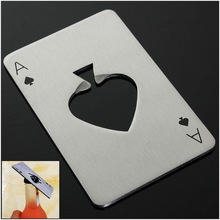 by DHL or EMS 300 pcs Portable Poker Playing Card Ace of Spades Bar Tool Soda Beer Bottle Cap Opener Gift