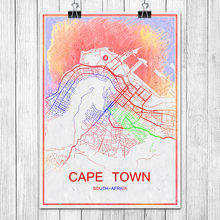 CAPETOWN South Africa Colorful World City Map Print Poster Abstract Coated Paper Bar Pub Living Room