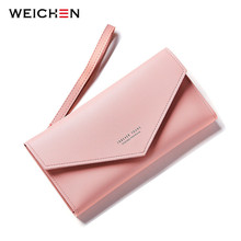 WEICHEN New Design Envelope Wristband Clutch Wallets For Women Long Wallet Purses Handle Hasp OL Style(China)