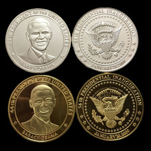 2 pcs ( 1 set ),The president of United states Barack Obama America silver 24k  gold plated souvenir coin set Christmas gift