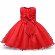 Red Ball Gown Formal Girls dress Summer Sequin Princess Clothing Rose Flower Girl Tutu Dress for Teenager Wedding Kids Clothes