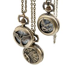 New small hunger games Pocket Watch retro fashion jewelry necklaces Korean Pendant wholesale Brown
