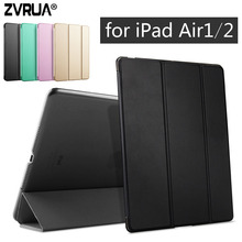 Para ipad air 1/air 2, zvrua stents de alta qualidade inteligente de despertar do sono case capa tablet couro pu para a apple ipad air1 ou air2