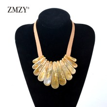 ZMZY Luxury Shell Choker Bib Necklace Fashion Jewelry Collier Femme Korean Cord Chain Brand Statement Necklace Collare(China)