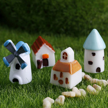 4PCS/set Mini Resin Church Castle Windmill Shed Cabin House Fairy Garden Miniature Craft Micro Cottage Landscape Decoration