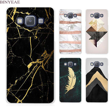 BINYEAE marble tri black gold hellip Clear Transparent Cell Phone Case Cover for Samsung Galaxy A3 A5 A7 A8 A9 2016 2017(China)