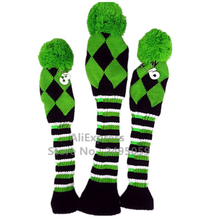 2016 NEW Design of 3pcs/set Blue Knit Wool Pompom Golf Club Headcovers Head Covers for Driver Fairway , best gift for Christmas