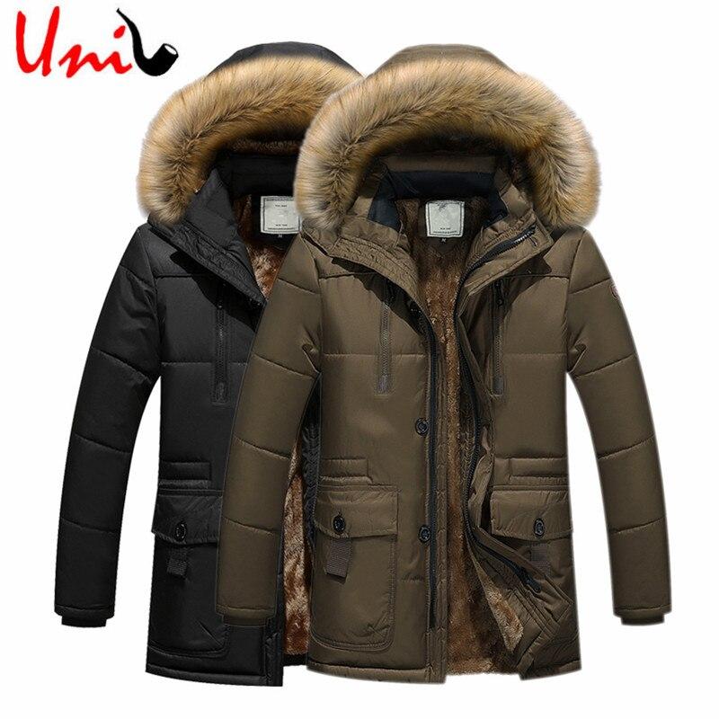 Uni-Splendor 2017 Long Winter Men Jacket With Velvet Warm Men's Parkas Korean Style Slim Fit Stand Collar Zipper Outerwear YN888