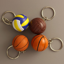 4CM PVC Soft Key Buckle Chain Basketball Football Volleyball Baseball Rugby Keychains Plastic Volleyball Keyrings For Gifts(China)