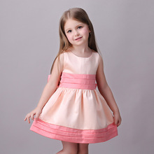 3- 8 Years Sleeveless Pink Girls Dresses With Bid Bow Summer 2016 Baby Girls Party Princess Dress Next Girl Frocks Designs