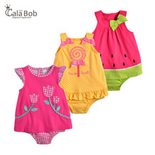 CalaBob 2018 Baby Girl Romper Summer Sleeveless Newborn Baby Girl Clothes Cute Cartoon Baby Rompers Dress Infant Jumpsuits