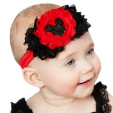 2pcs/lot New Chiffon flower headbands Cute Baby minnie mouse headband infant girls headwear children hair accessories H6