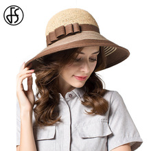 Summer Brown Striped Sun Hat For Women Large Brim Elegant Bow Fedora Straw Hats Beach Visor Cap UV Protect Chapeau Femme(China)