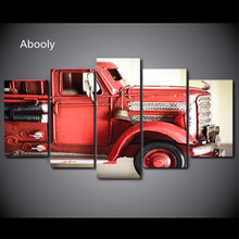 5Piece Canvas Art Painting HD Printed Wall Art Fire Truck Red Vehicle Wall Pictures For Living Room Modern Painting Artwork(China)