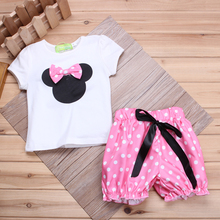 Girls Clothing Sets 2016 Summer Cotton Baby Girls T-shirts Tops + Dots Shorts/Skirt Cartoon Minnie Girls Suits Children Outfits(China)