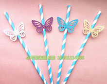 Retail 25 pcs/lot Hollow Out Pattern Gilster Butterfly With Colorful Paper Straws Party Decoration Photo Props(China)