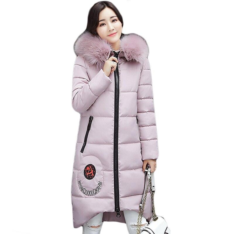 New High Quality Large Fur Collar Hooded Women Winter Jacket Snow Wear Female Long Slim Winter Cotton-padded Wadded Coats CM1510Îäåæäà è àêñåññóàðû<br><br>