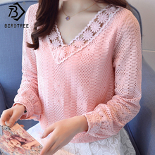 Buy XXL Crochet Women Lace Blouses Long Sleeve Ladies Tops Fashion Blouses Pink White Shirts 2018 New Spring Female Clothing T81029A for $14.24 in AliExpress store