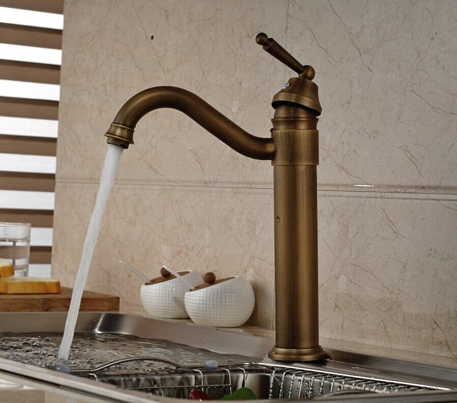 Antique Bronze Swivel Spout Vessel Sink Mixer Tap Kitchen Faucet Vanity Single Handle Hole Tap<br><br>Aliexpress