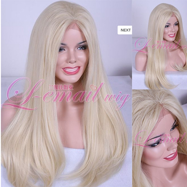 Promation Free Shipping Heat Resistant Fiber Straight Blonde Synthetic Lace Front Wig<br><br>Aliexpress