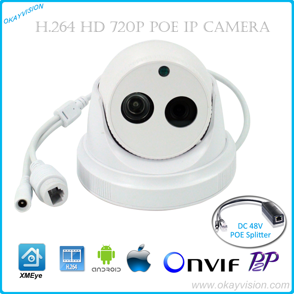 Okayvision 1280*720 1.0MP POE IP Camera 1pcs Array IR IR Cut NIght Vision ONVIF Home Protection CCTV camera Motion Detection<br>
