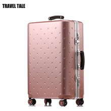 "TRAVEL TALE 20""24""26""29"" inch women retro travel box luggage trolley bag on wheels(China)"
