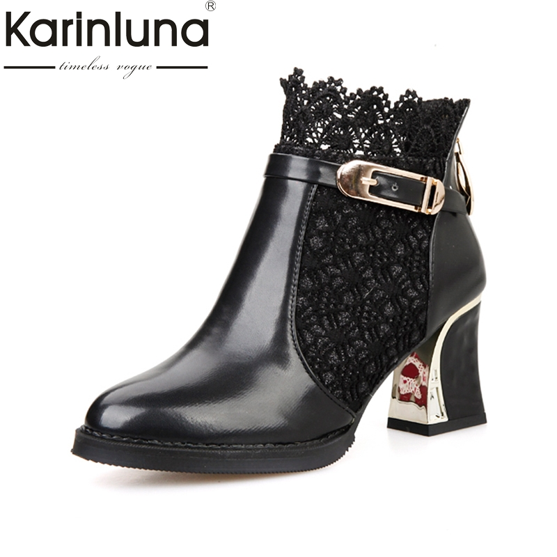 Karinluna 2018 New Fashion Large Size 34-48 Zip Up Round Toe Woman Boots Woman Red Black High Heels Party Ankle Boots<br>