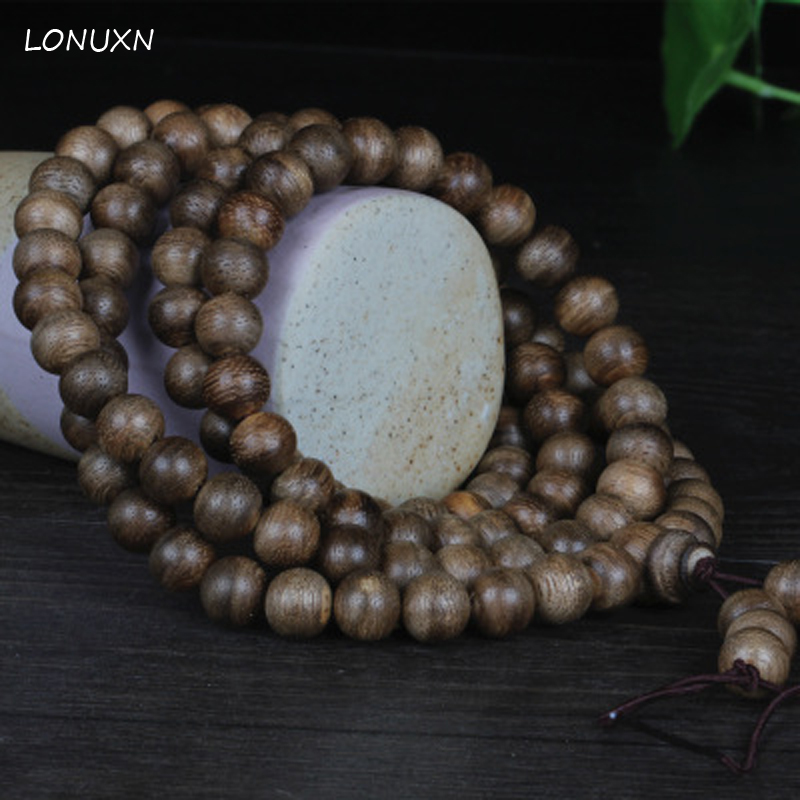 Authentic 3 size 6mm, 8mm, 10mm*108 beads High quality Kalimantan natural wood incense beads bracelet male women lovers gift