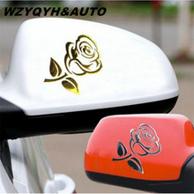 2017 1PCS 10*7.7cm 3D Silver/Golden Stereo Cutout Rose Car Vehicle PVC Logo Reflective Car Sticker Decal Flowers Art Hot Sale(China)