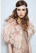 Gorgerous satin lined feather cape # FC15002(China)