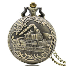 Vintage Bronze Train Front Locomotive Engine Railway Pattern Quartz Pocket Watch Men Womens Necklace Pendent Chain Gift 2017