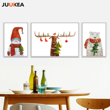 Christmas Decorations Canvas Print Painting Poster, Cartoon Bear Deer Snowman Kids Room Wall Pictures Wall Decor Home Decor