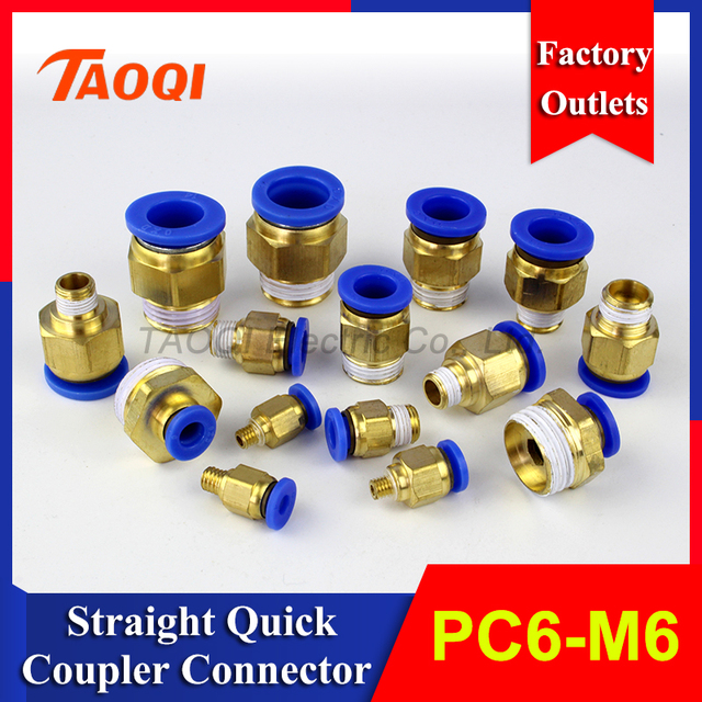 1piece/lot PC6 M6 Air Straight Pneumatic Male Tube Fitting One ...