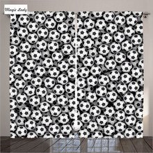 Curtains Games Sport Home Decor Collection Soccer Balls Competition Art Black White Living Room Bedroom 2 Panels Set 145*265 sm