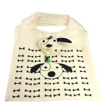 CONEED Cartoon Dog Portable Folding Shopping Bags Thicker Storage Bags for Food Sundries Beige Drop Shipping Happy Sale ap703(China)