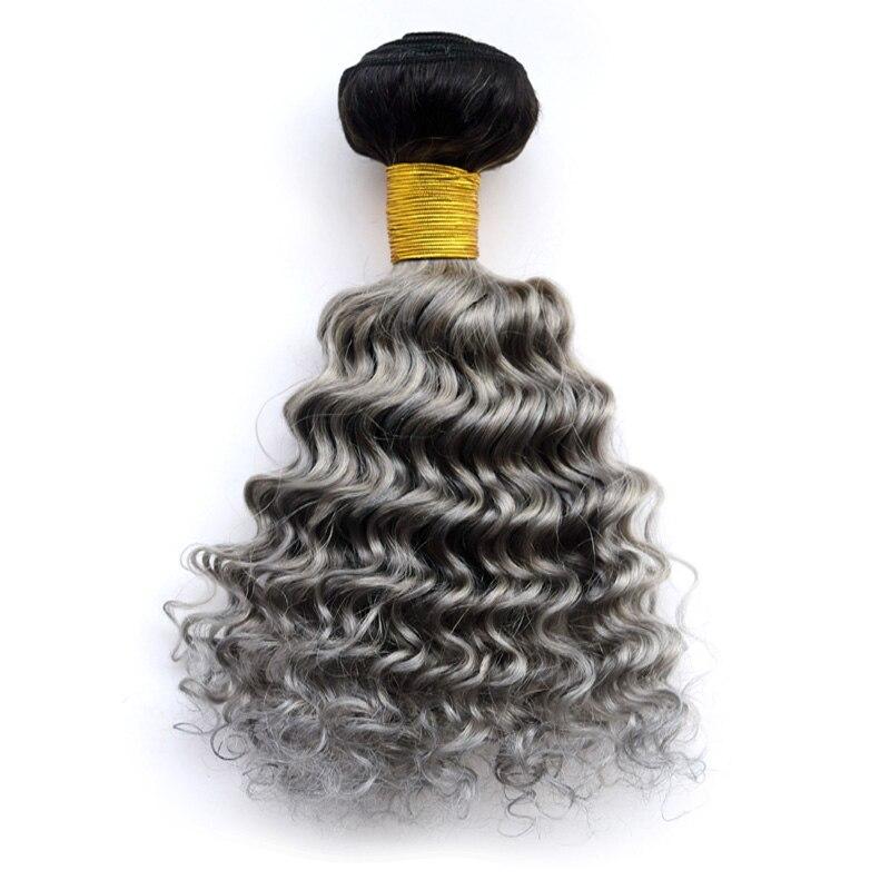 1b/grey Deep Wave Hair Weft Weave Two Tone Ombre Hair Extension Silver Grey Hair Weave Deep Curly Brazilian Hair Bundles<br><br>Aliexpress