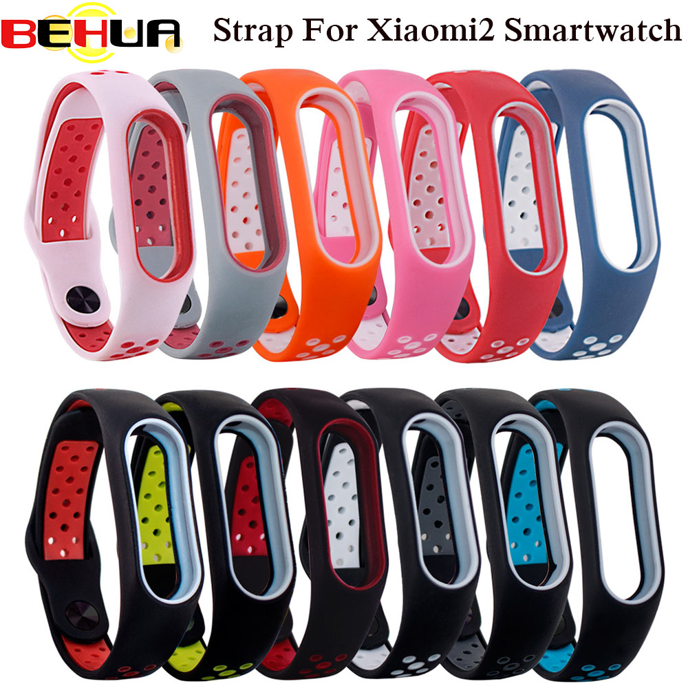 Colorful Silicone Wrist Strap Bracelet Double Color Replacement watchband Xiaomi Mi band 2 Miband 2 Wristbands Watch band