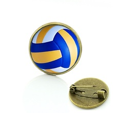 Best Deals Ever beach volleyball picture badge pin Exquisite women men's casual Sports volleyball art brooches pins jewelry T255