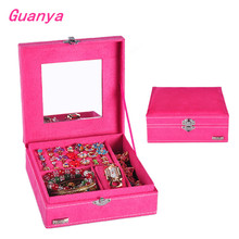 17*17*6cm New Good Quality square Princess Retro Suede Velvet Jewelry Wedding Gift Storage Box Case Red/pink/Purple Hot B019